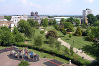 The Memorial Gardens Crawley from the top of the County Mall shopping centre